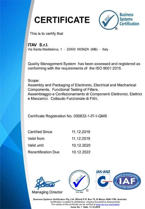 Certifica qualità Itav srl